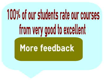 100% of our students rate our courses from very good to excellent, click here for more info